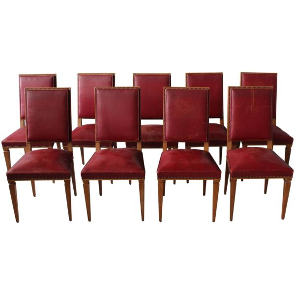 Set of Nine Fine French Art Deco Lime Oak Side Chairs by Arbus