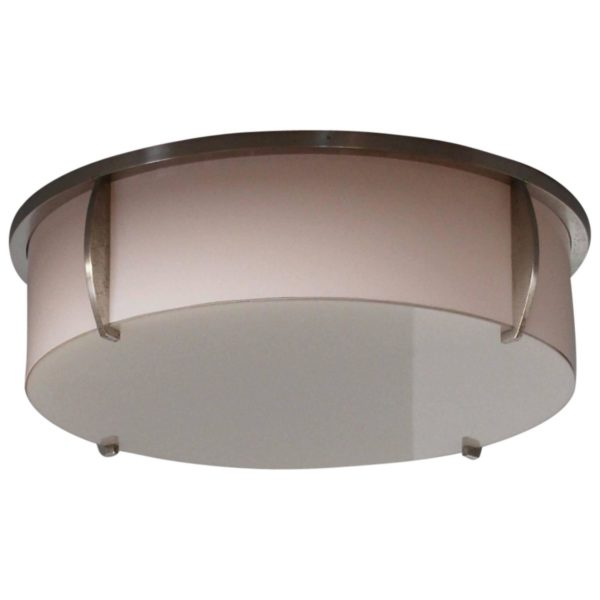 Fine French Art Deco Enameled Glass and Chrome Flush Mount by Jean Perzel