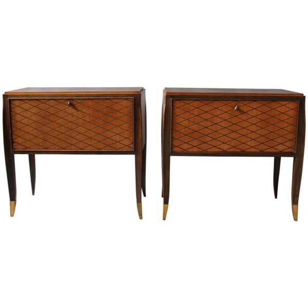 Pair of Fine French Art Deco Rosewood Cabinets or Commodes by Jean Pascaud