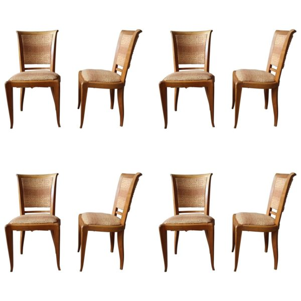 Set of 8 Fine French Art Deco Cherry Dining Chairs