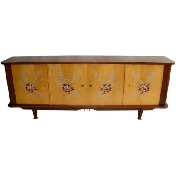 Fine French 1950s Sycamore and Rosewood Sideboard with Original Painted Doors