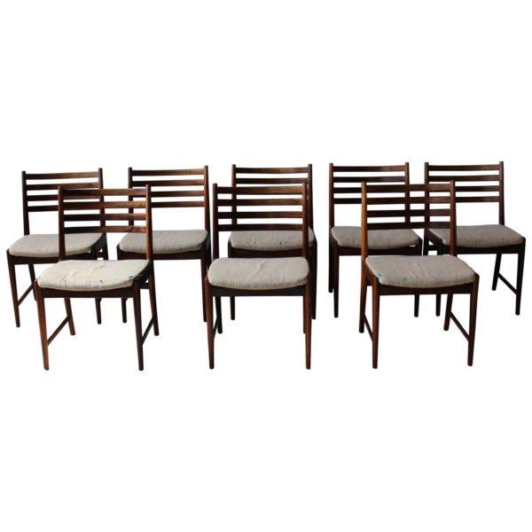 A Set of 8 Fine Danish 1960's Rosewood Chairs by Kai Lyngfeldt