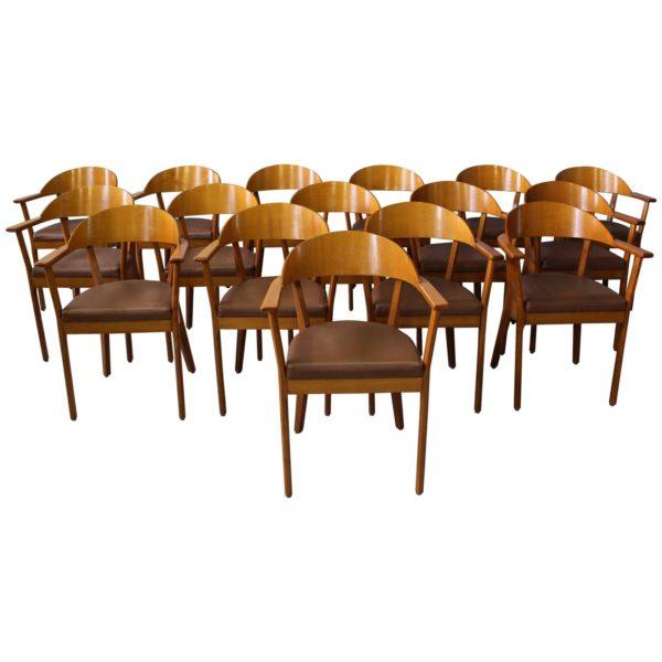 5 Wooden Armchairs by Baumann, 1980s