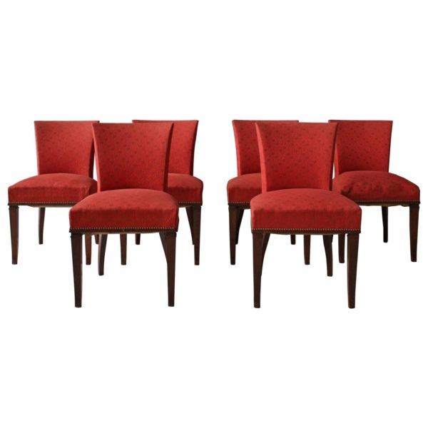 Set of Six Fine French Art Deco Solid Rosewood Dining Chairs