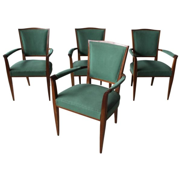 A set of 4 Fine French Art Deco Mahogany Armchairs Attributed to Dominique