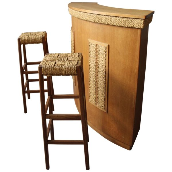 Fine French 1950s Oak and Rope Bar and Two Stools by Audoux Minet