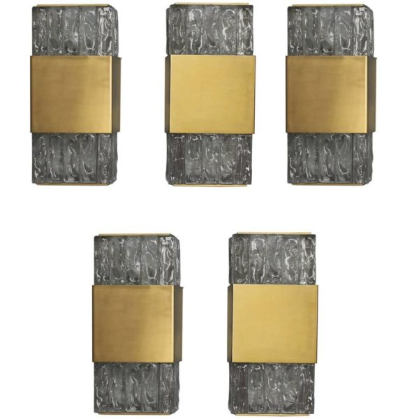 Five Fine French Art Deco Bronze and Slabs Glass Sconces by Perzel