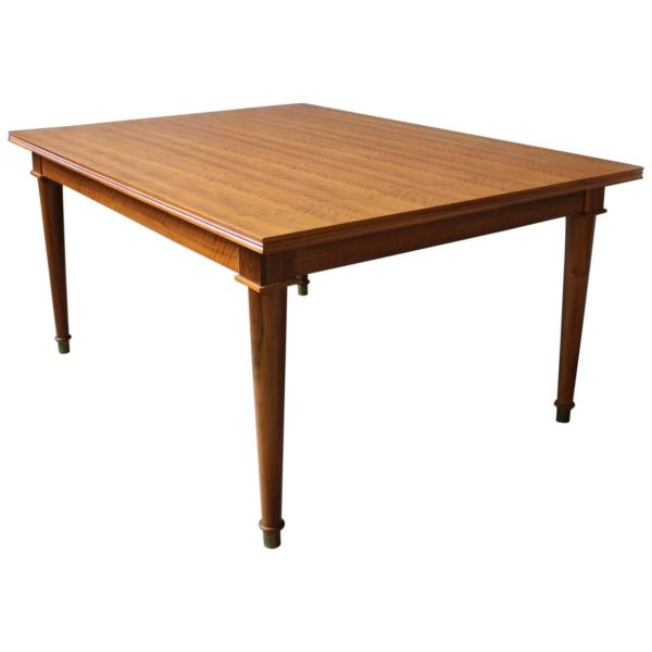 Fine French Art Deco Extendable Walnut Dining Table by Jules Leleu
