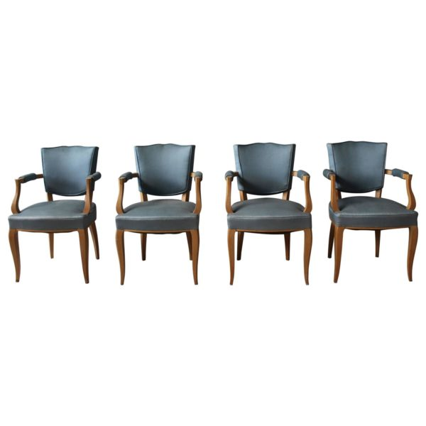 Set of Four Fine French Art Deco Sycamore Bridges Armchairs