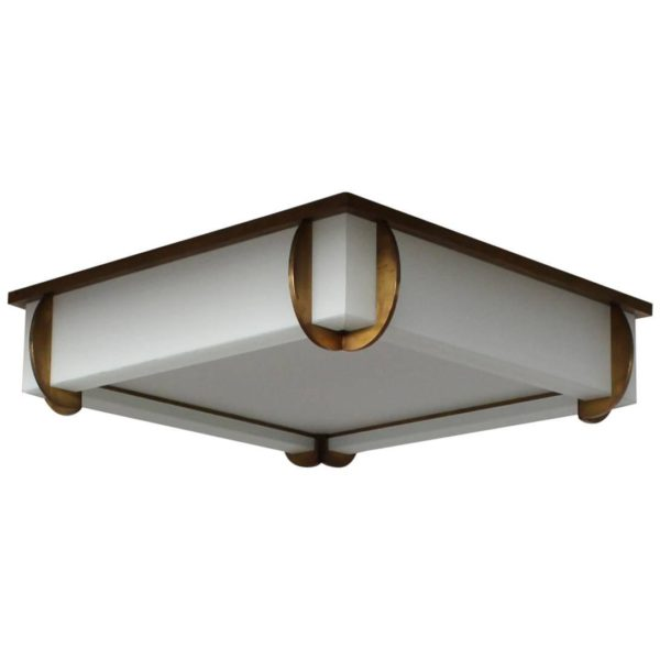 A Fine Large French Art Deco Square Bronze and Glass Flush Mount by Jean Perzel