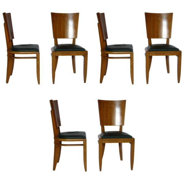 Set of Six French Art Deco Beech and Walnut Dining Chairs