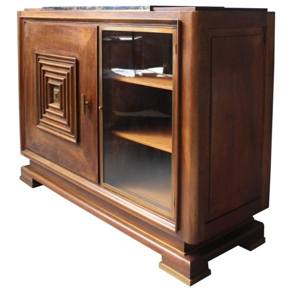 A Fine French Art Deco Two Doors Walnut Buffet in the Manner of Maxime Old