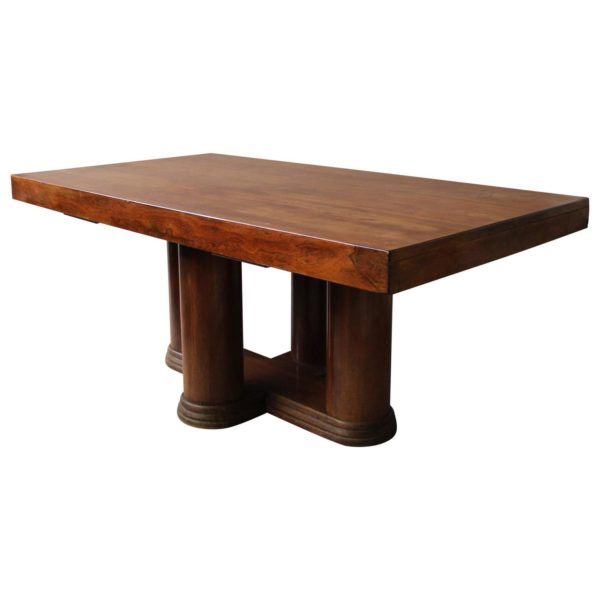 A Fine French Art Deco Rosewood Extendable Dining Table