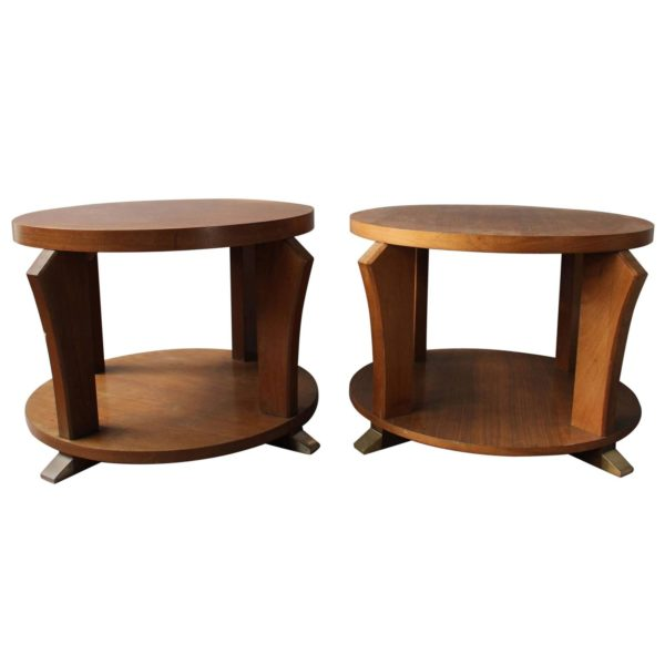 Two Fine French Art Deco Rosewood Gueridons with Chrome Details