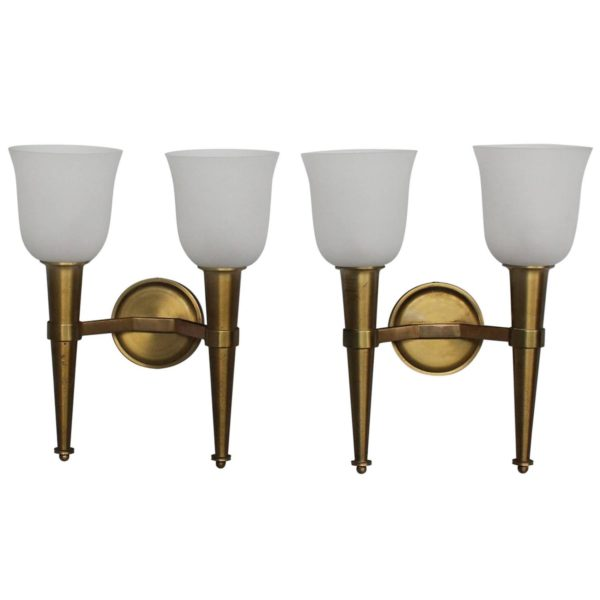 Pair of French Art Deco Double Torchere Sconces by Perzel
