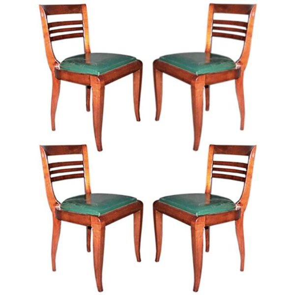 Set of Four French Art Deco Mahogany Chairs