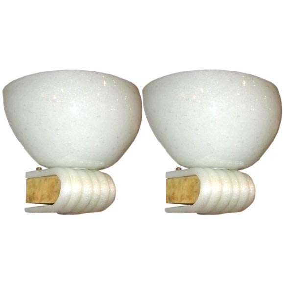 A Pair of Italian Handblown Murano glass and Brass Sconces