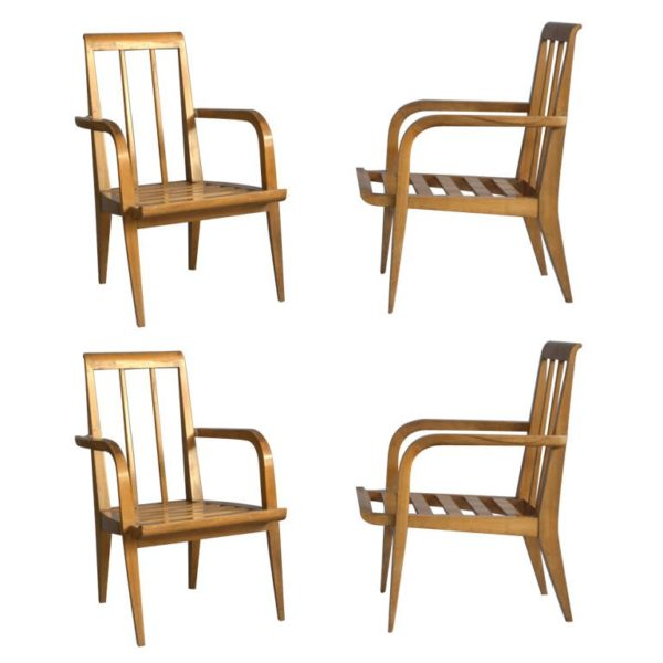 Four Midcentry Cherry Armchairs by Roger Landault