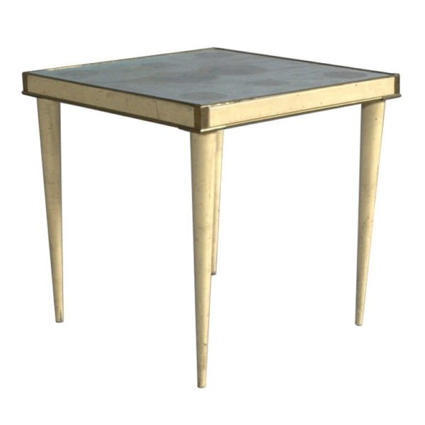 A Rare Lacquered Italian Side Table with a Scagliola and Lithograph Top