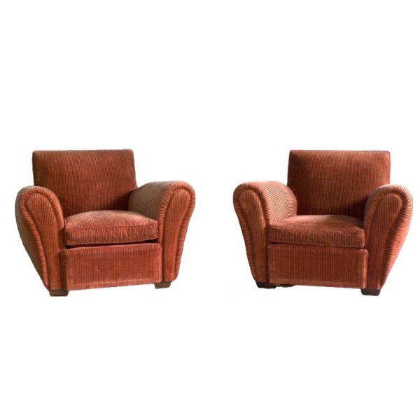 Pair of French, Art Deco Club Chairs