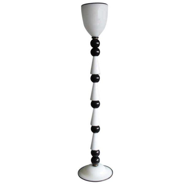 An Italian 1980's Black and White Hand Blown Murano Glass Floor Lamp.