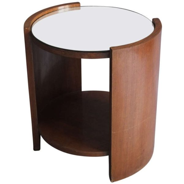 A Fine French Art Deco Rosewood Gueridon with a Mirrored Top