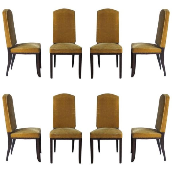 A Set of Eight Fine French Art Deco Macassar Ebony Dining Chairs by Paul Frechet