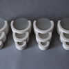 2 Pairs of French Art Deco Plaster and Glass Sconces