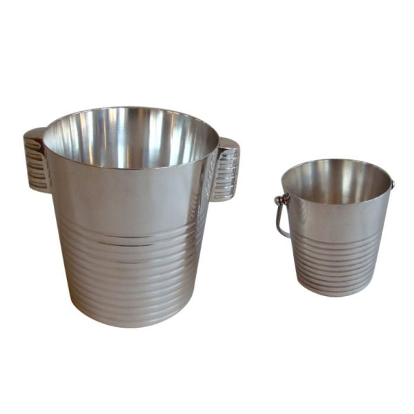 Silver Plated Champagne and Ice Buckets by Luc Lanel for Christofle