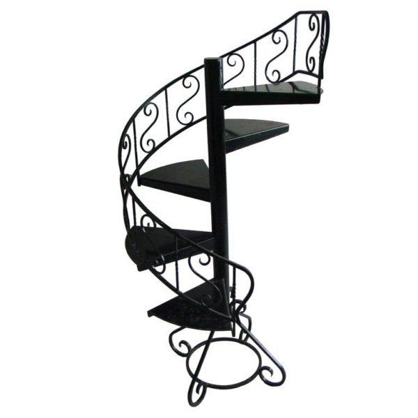 French 1940s Black lacquered Metal Circular Display Staircase