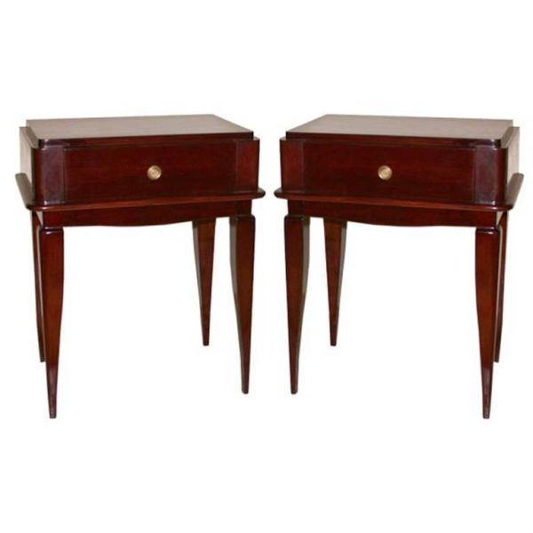 Pair of French Art Deco Mahogany Side Tables