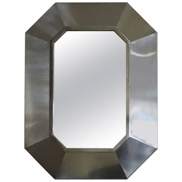 French 1970's Stainless Steel Framed Mirror
