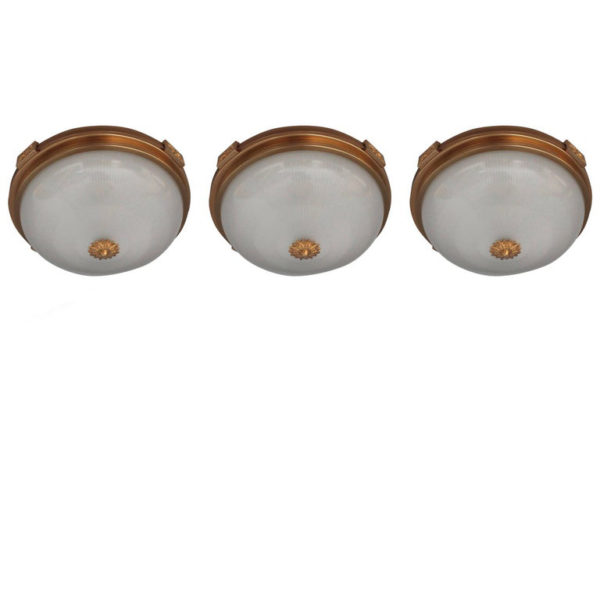 3 Fine French Neoclassical Brass Flush Mounts with Fluted Glass Shades
