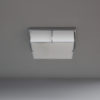 Fine French Art Deco Square Enameled Glass and Chrome Flush Mount by Perzel