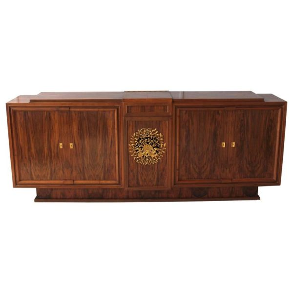 A Fine French Art Deco Walnut Music Cabinet or Sideboard by Jules Leleu