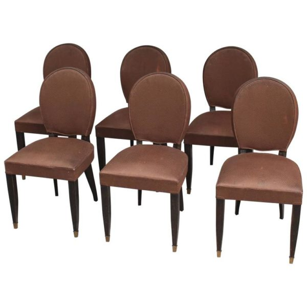 Set of Six Fine French Art Deco Ebonized Dining Chairs