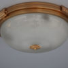 Three Fine French 1940s Gilded Brass Flush Mounts with Fluted Glass Shades