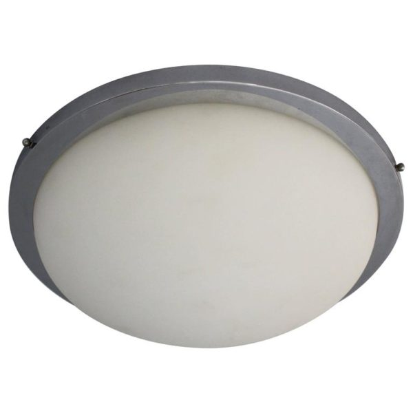 French Art Deco Glass and Chrome Flush Mount by Perzel