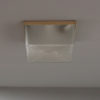 French Art Deco Textured Glass Flush Mount with a Painted Metal Frame
