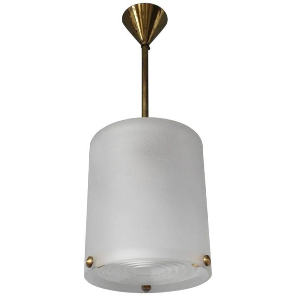 A Fine French Art Deco Glass and Bronze Small Chandelier by Perzel