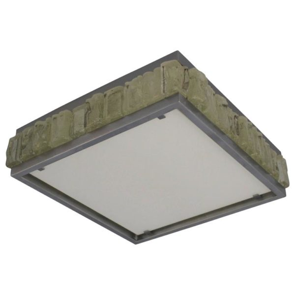 A Fine French Art Deco Square Glass and Chrome Flush Mount by Jean Perzel