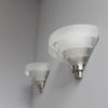 Four Fine French Art Deco Chrome and Glass Sconces by Jean Perzel