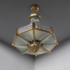 A Fine French Art Deco Octagonal Bronze and Glass Chandelier by Petitot