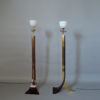 2 Fine French 1970s Metal and Plexiglas Floor Lamps Attributed to Philippe Jean