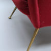 A Fine 1970's Italian Red Velvet Armchair with Brass Legs