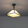 French Art Deco Trapezoidal Glass and Chrome Ceiling Fixture/Lantern