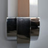 Fine French Art Deco Pink and White Enameled Glass and Chrome Sconce by Perzel