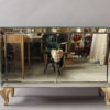 French Art Deco Mirrored Buffet or Commode with Wooden Legs and Handles