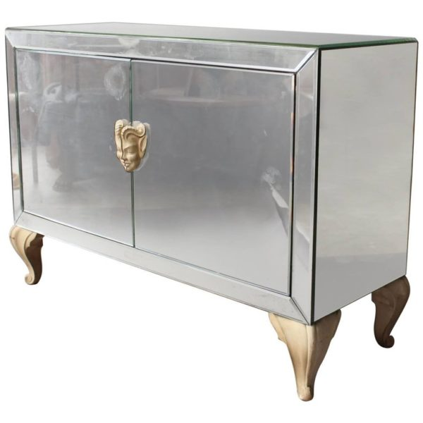 Fine French Art Deco Mirrored Buffet or Commode with Wooden Legs and Handles