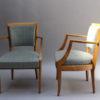 2 French Art Deco Beechwood Bridge Armchairs
